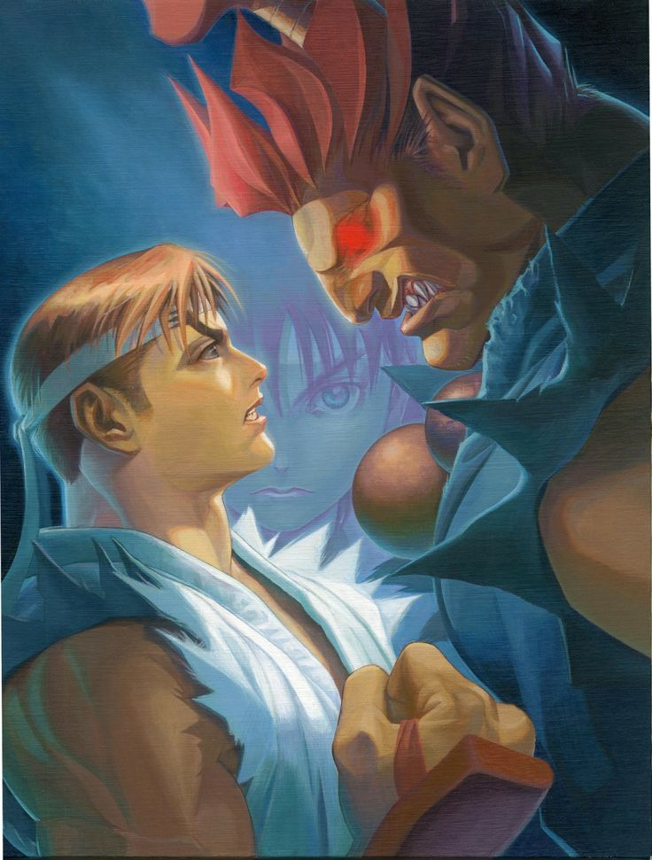 This illustration is made by Japanese artist Dai-Chan who worked on two Street Fighter Alpha games. The print is a reproduction of a canvas painting that formed the main image for Street Fighter Alpha 2. What's interesting about this image is that Akuma is depicted as being much larger than Ryu while in the games they are the same height.