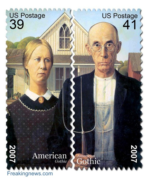 """""""American Gothic"""" stamps - Although these look legit, they are actually an entry in an Advanced Photoshop contest; great idea for change in postage rates!"""