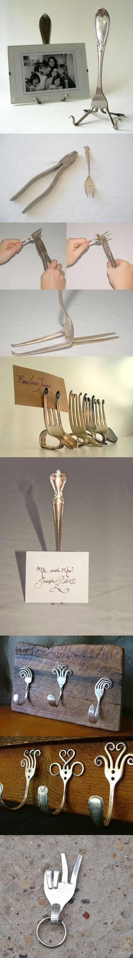 DIY Fork Art Scour up some old forks and use a pair of pliers and elbow grease to form them into whatever shape you like! Here's some inspiration: http://doitandhow.com/category/recycle-it/