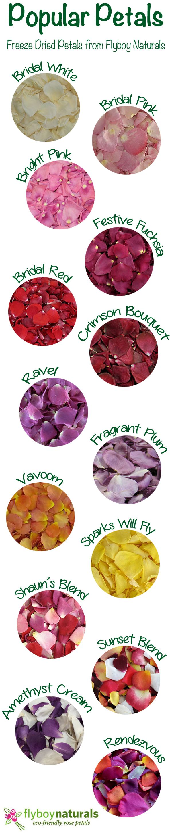 A few of our favorites rose petals for weddings & special events. Over 100 colors of petals to choose from at Flyboy Naturals. Take a peek at all the options click this link: http://flyboynaturals.com/our-products/ or visit www.flyboynaturals.com for idea