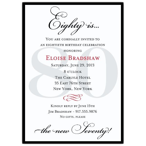 25 best ideas about 80th Birthday Invitations – Black and White Party Invitation Wording