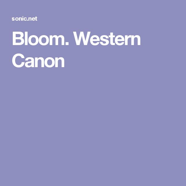 Bloom. Western Canon
