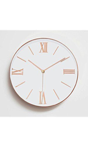 "Foxtop 12"" Silent Non-ticking Universal Quartz Movement Wall Clock-Large Indoor Outdoor Wall Clocks- Plastic Frame Glass Cover (Rose Gold Bold Numeral)"