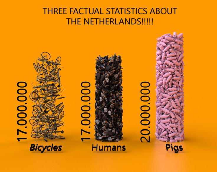 Week 1: Fun Facts: Every person in The Netherlands has one bike! There are 17 million people in the Netherlands. But there are more pigs!!   Note: These are not real facts!! Two are wrong and one is right. This is part of an assignment.  Explanation: The number of people is right. There are more bicycles (19.000.000) and less pigs (12.000.000 but we produce 30.000.000 per year). I like the feel of this chart. It took more time to make then I first anticipated.