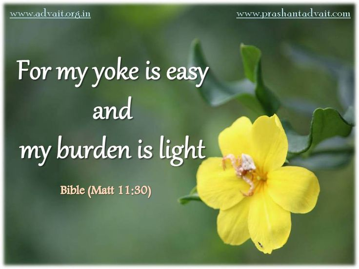 For my yoke is easy and my burden is light. ~ Bible(Matt 11:30) #Bible #ShriPrashant #Advait #light #yoke #mind #burden Read at:- prashantadvait.com Watch at:- www.youtube.com/c/ShriPrashant Website:- www.advait.org.in Facebook:- www.facebook.com/prashant.advait LinkedIn:- www.linkedin.com/in/prashantadvait Twitter:- https://twitter.com/Prashant_Advait