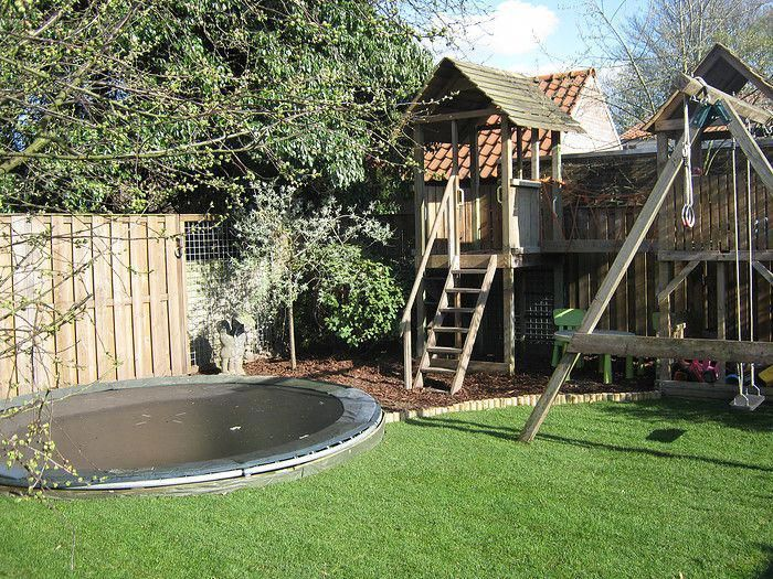 Our Future Kids Playground Pretty Cool Backyardtrampolinegroundlevel Backyard For Kids Backyard Trampoline Backyard Playground