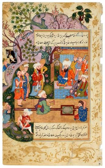 A Confrontation of Akhī Mustafā, a Childhood Friend of Rūmī's Family, and Cārif, Rūmī's Grandson and Head of the Mevlevī Order   A Confrontation of Akhi Mustafa   The Morgan Library & Museum