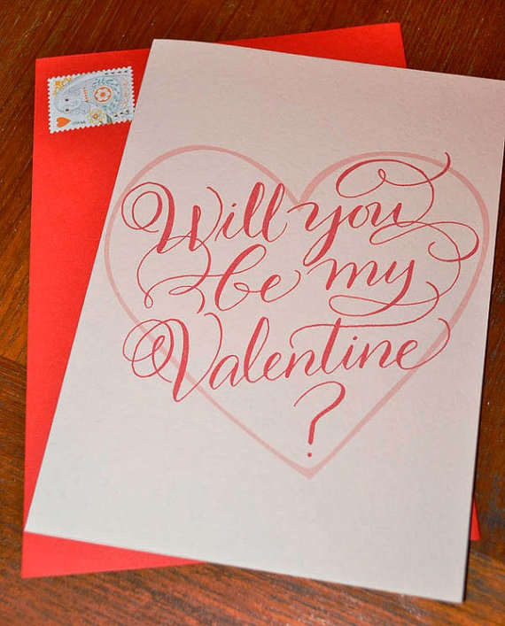 Will you be my valentine calligraphy card blank inside