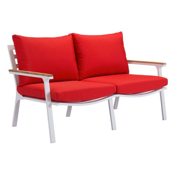 Maya Beach Sofa Red, Natural & White. The Maya Beach Sofa has an aluminum frame epoxy powder coated in a durable finish with Teak trimmed armrests.  The cushions are made with industry leader Sunproof fabrics.  This comfortable and modern chair provides outdoor style and relaxation at its best.Case Pack: 1Material: Sunproof Fabric, Teak, PoNumber Of Cartons: 1Total Carton Weight ( lbs. ): 59Total Carton  Length ( in. ): 58Total Carton Depth ( in. ): 36Total Carton  Height ( in. ): 34
