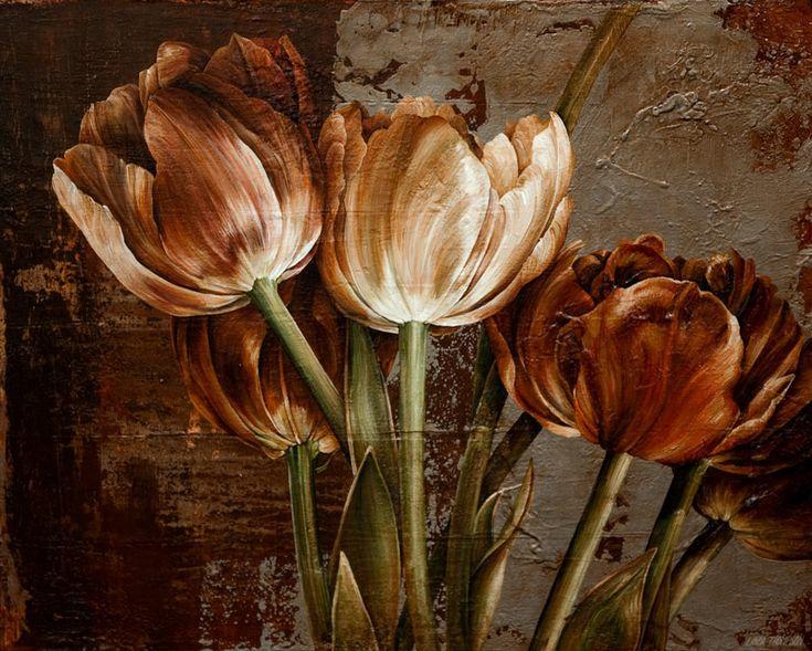 прекрасные цветы, масляная живопись, картины цветов, картины с весенними цветами, Линда Томпсон