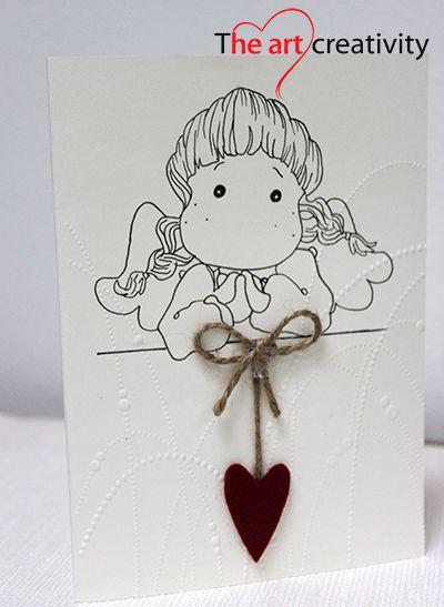 Biglietto di auguri con angelo e cuore in feltro. #biglietto #feltro #corda #feltrorosso #red #card #angel #auguri #battesimo #compleanno #comunione #cresima #lotrovisuMissHobby