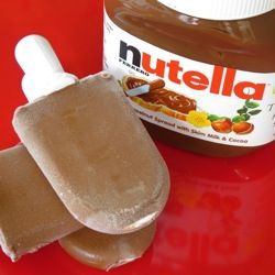 Nutella + milk = popsicles. We make these all the time now. They taste like storebought fudgesicles but better!