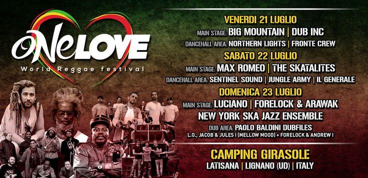 """Appuntamento per laquarta edizione del One Love Festivalche avrà luogo da venerdi 21 luglio a sabato29 luglio 2016 presso l'area del Camping Girasole. di Latisana.  Il One Love si prepara per un grande ritorno con la stagione2017, grandi artisti come: LOVE ITALIAN REGGAE: Jaka, Paulinho, Chisco, Markone & Nico Royale backed by Soulove Riddim Band, JAH 9 & Treatment Band, ANTHONY B ecc.  Per saperne di più <a href=""""http://www.onelovefestival.it/onelove/2017/programma/"""">clicca qui.</a>  …"""