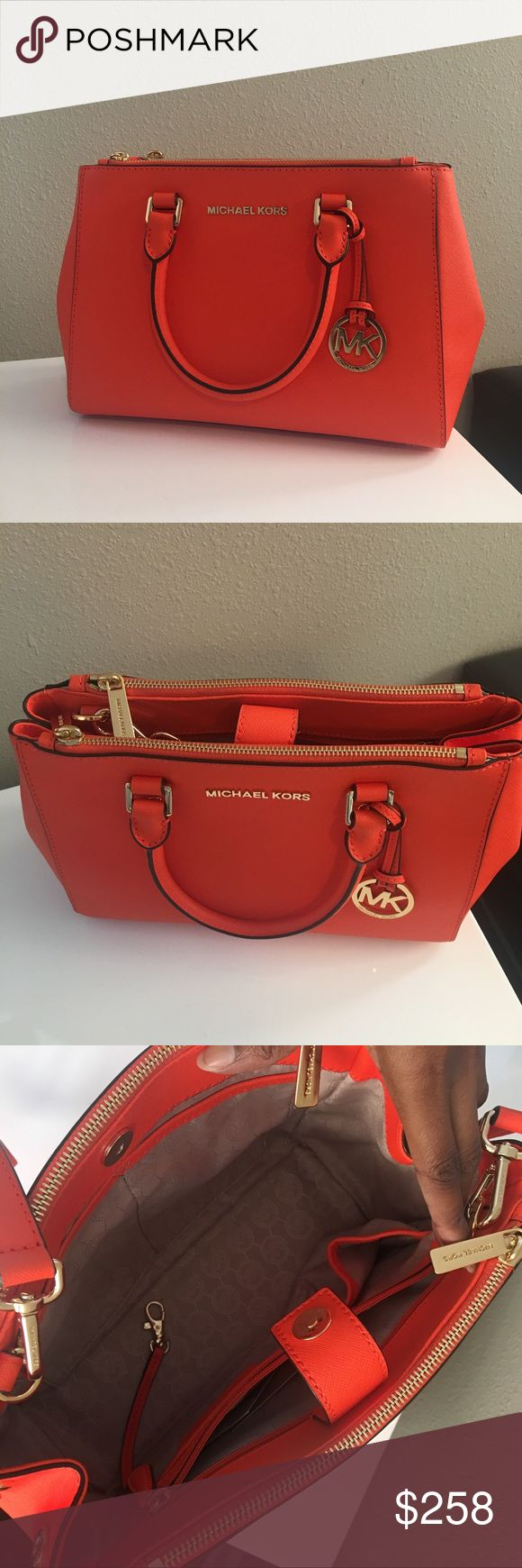• MK Clementine Orange Sutton Satchel • Worn twice | Great Condition | Please feel free to ask questions | Comes with dust bag and care Card | 100% Authentic | Tags still kept MICHAEL Michael Kors Bags Satchels