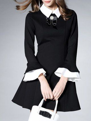 Black V Neck Paneled Long Sleeve Mini Skirt