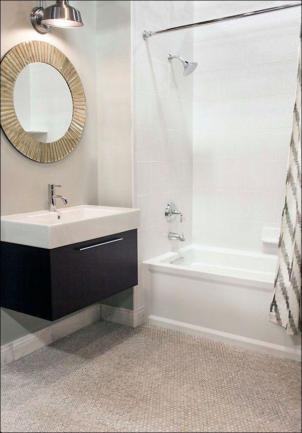 White Penny Tile Bathroom Floor