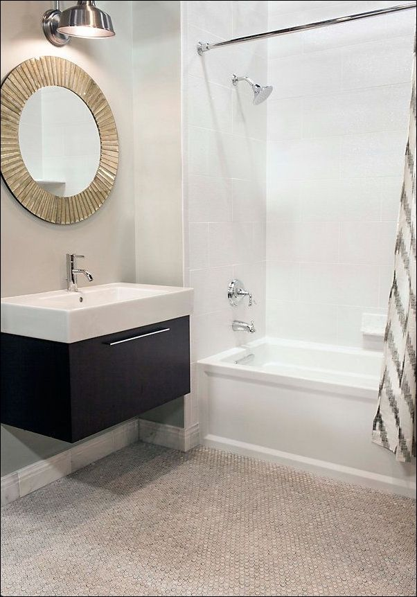White Penny Tile Bathroom Floor
