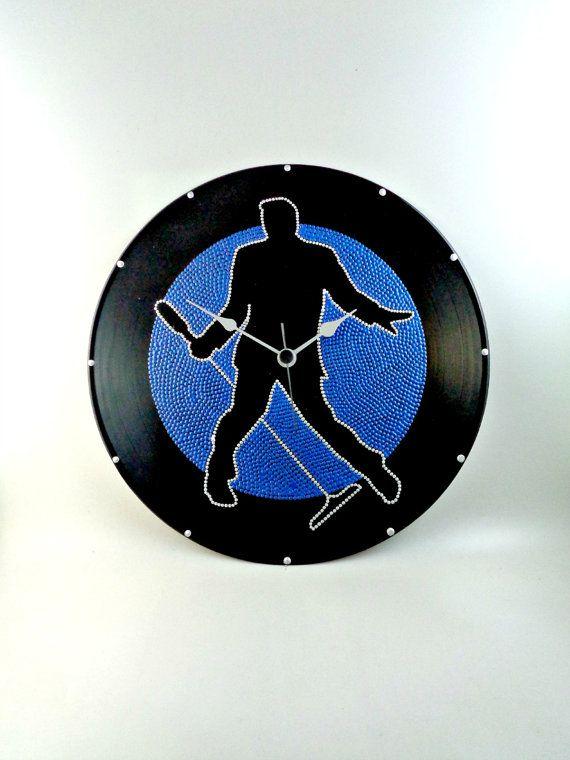 Elvis Presley Vinyl Clock Hand Painted Blue by InsaneDotting