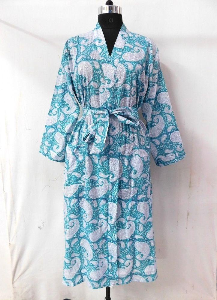 1d68041ecc Women Wear Indian Block Print Long Kimono Beach Cover Up Robe Handmade  Sleepwear #fashion #clothing #shoes #accessories #womensclothing  #intimatessleep ...