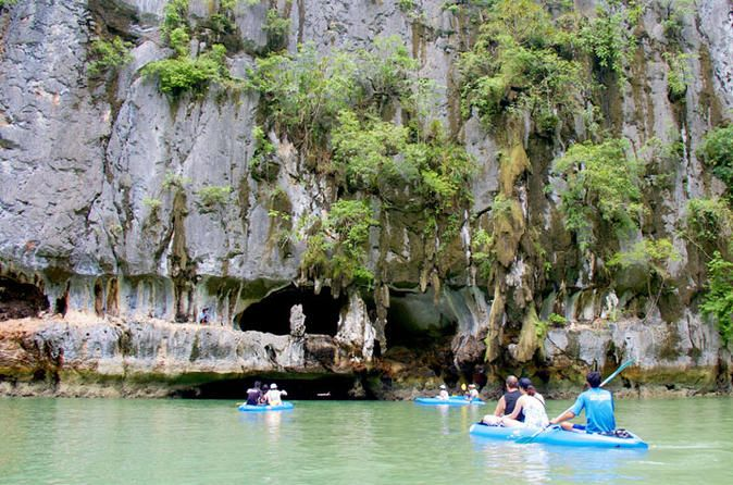 Day Trip Kayaking at Phang Nga Bay from Phuket Immerse yourself in the legendary beauty of Ao Phang Nga National Park, known for its striking limestone karst formations, picturesque beaches, and Hollywood history. This day trip from Phuket or Khao Lak takes you kayaking at two islands of Phang Nga Bay with a guide and boat crew. Paddle to the lagoons and caves of Hong and Panak islands, and enjoy a buffet lunch, snacks, and beverages.After pickup from your hotel in Phuket or K...