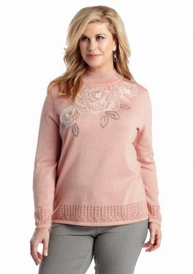 Alfred Dunner  Plus Size Jewelry Box Floral Yoke Sweater