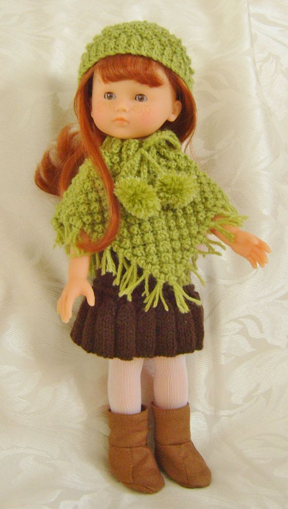 Knitting Pattern Doll Poncho : LC03 Blackberry Poncho Sets for 13 and 14inch dolls PDF ...