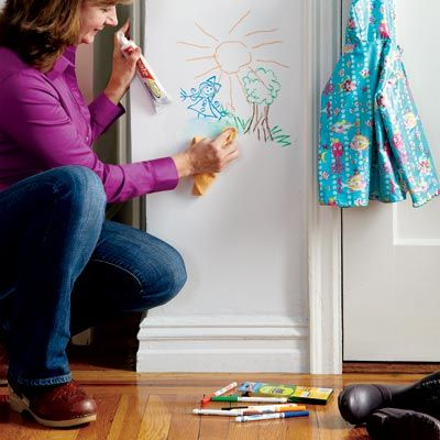 """Remove marker """"artwork"""" with toothpaste rather than repainting to cover it up. Simply squeeze the paste on a rag and wipe on the wall to make doodles disappear. Works with Crayola-type kids' markers as well as felt-tip and ballpoint pens. - John Morell, This old house magazine"""