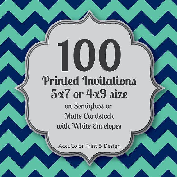 Invitation PRINTING 100 Custom, 5x7 or 4x9 print service, fast print, wedding, anniversary, shower, birthday invites & envelopes