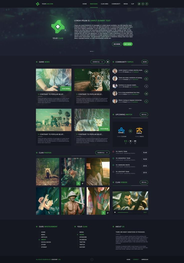 Clan Gaming Web Design by iEimiz on DeviantArt