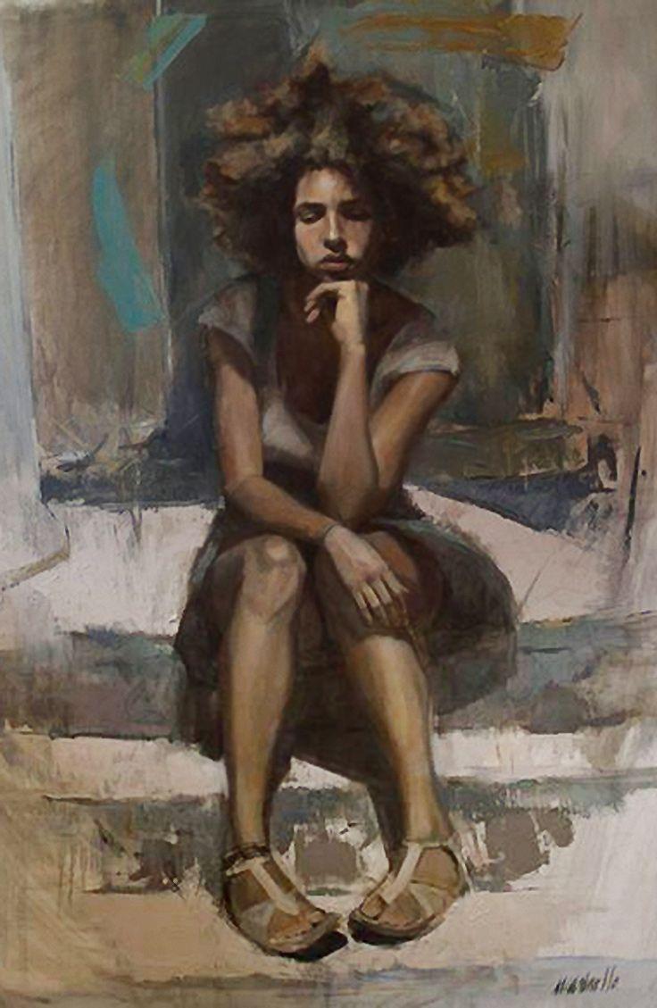 Artist: Pau Marinello {contemporary figurative #expressionist art female #natrualhair #pigeontoed seated woman smudged painting #loveart} paumarinello.com