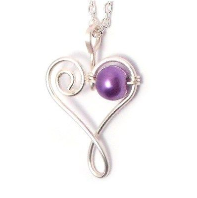 Forever in Our Hearts. Handmade Wire Heart Pendant – Purple ] Kian Designs – Handmade Jewellery