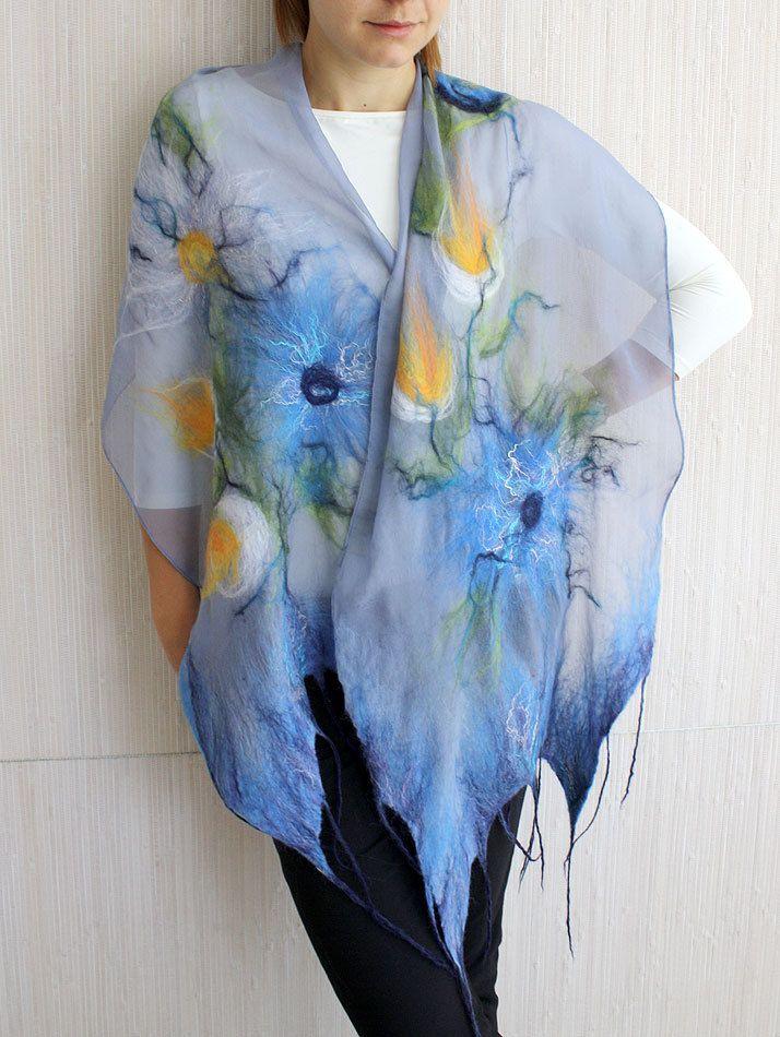 Women Nuno Felted Silk Scarf Shawl Wrap BLUE SUMMER by LidikoFelt