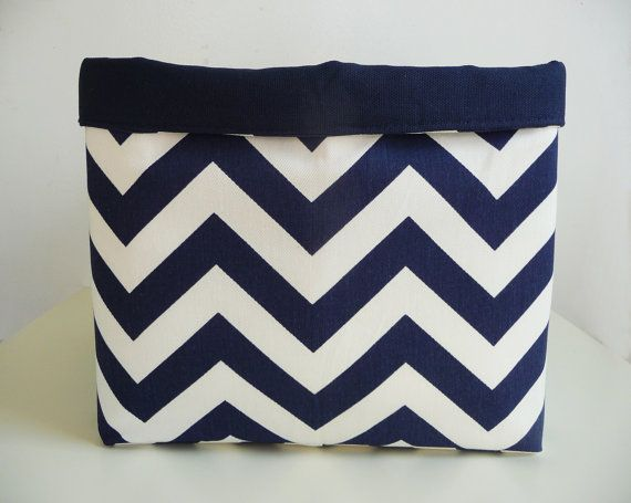Extra Large Storage Basket Fabric Organizer In Navy Blue And White Chevron  Zig Zag With Navy Blue Canvas Liner   10 X 10 X 10
