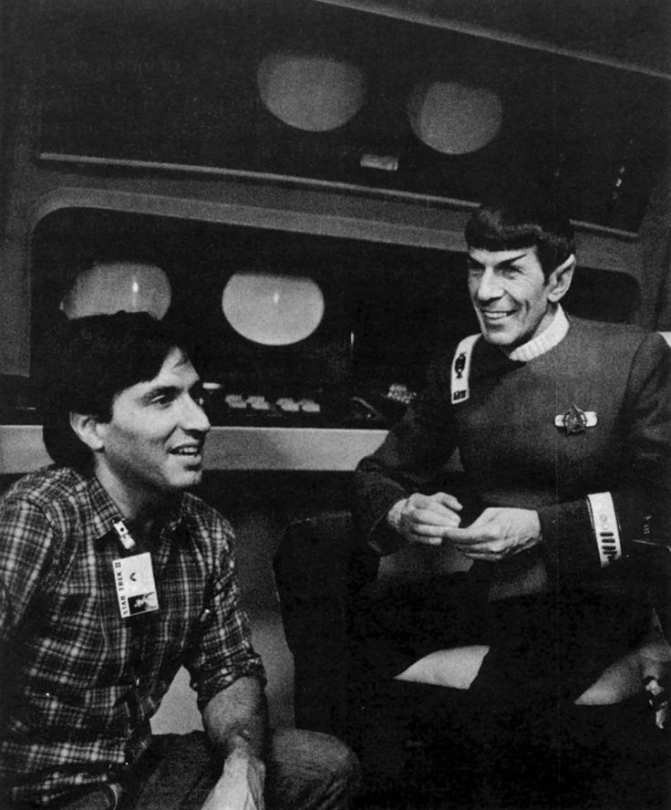 Director Nicholas Meyer and Leonard Nimoy chatting on the set of The Wrath of Khan.