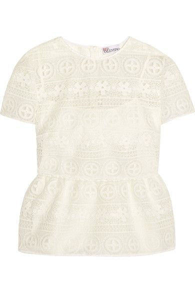 REDValentino - Crocheted Lace Peplum Top - White - IT