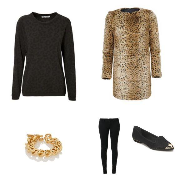 Leopard Print Outfit outfit - Street style - Deze casual outfit met panterprint is een echte blikvanger! De jas van WE Fashion en de trui van C&A, beide met panterprint, vormen een sterke, opvallende combinatie. De zwarte skinny jeans van JUST FEMALE maakt het geheel compleet. De schoenen van Derby's en de armband van TOV Essentials maken de outfit af.