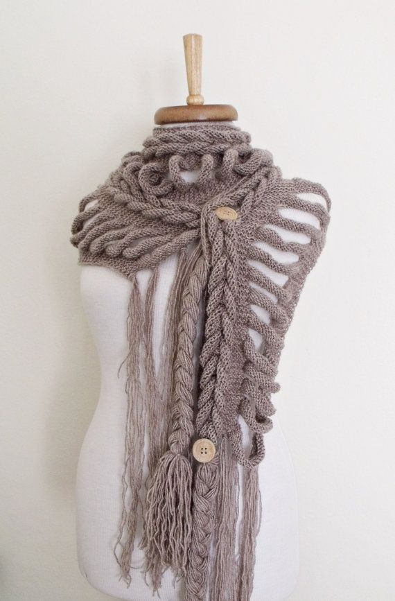 Rapunzel Wool Scarf-Dark Milky Brown-Fall by knittingshop on Etsy