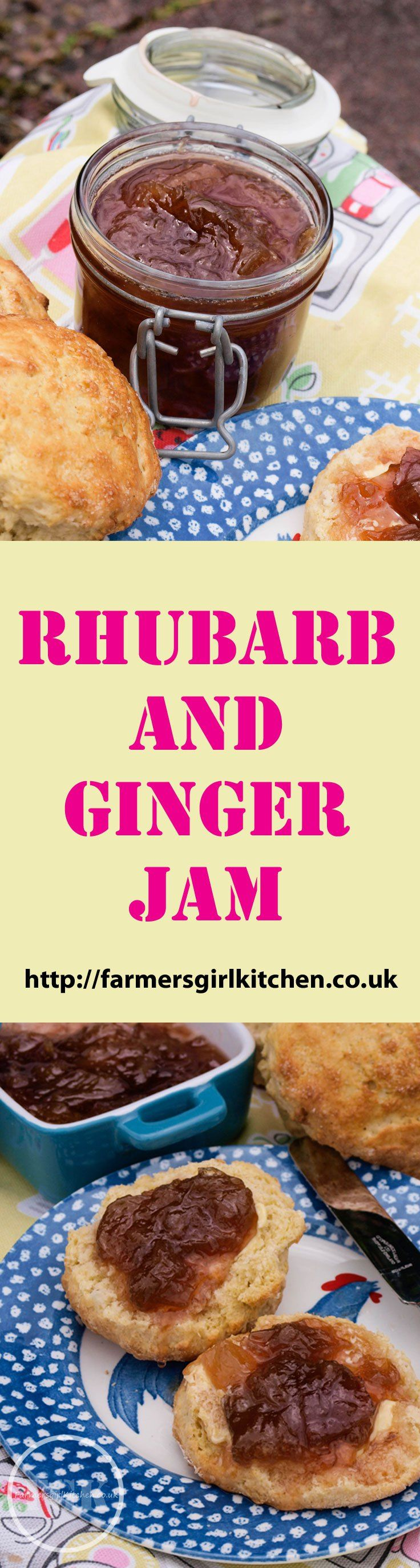 Rhubarb and Ginger Jam Recipe - a classic recipe and one of the most popular at Farmersgirl Kitchen