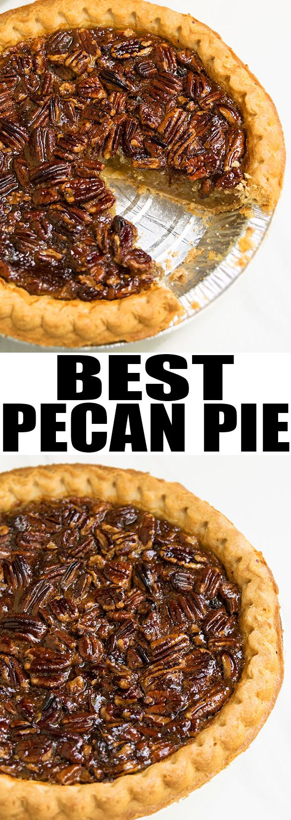 This easy PECAN PIE recipe with crispy crust and ooey gooey pecan filling is a classic! This Southern, old fashioned pecan pie requires simple ingredients and is the best Thanksgiving dessert. From cakewhiz.com #pecans #pie #thanksgiving