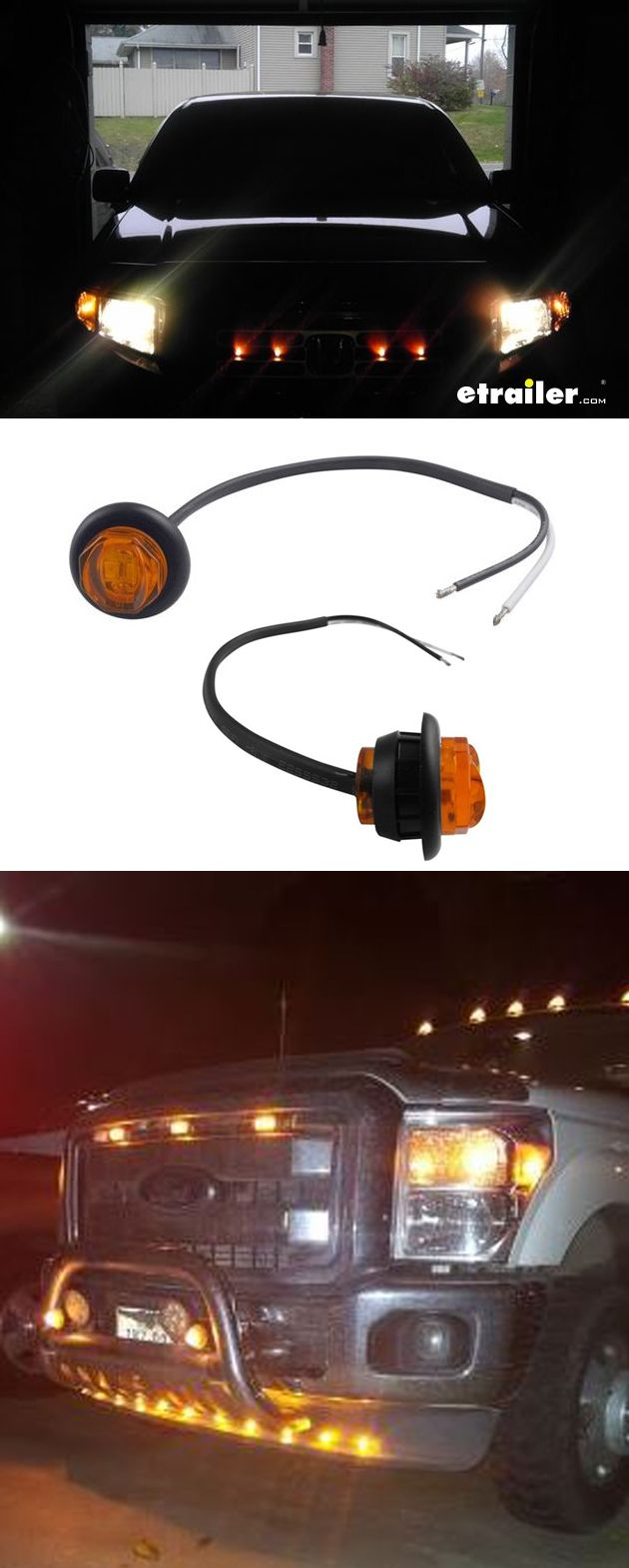 Uni lite led clearance and side marker light w grommet submersible 2 diodes amber lens optronics trailer lights