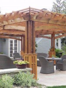 craftsman pergola | custom half-height columns, the hand-sawn deep arches of this pergola ...