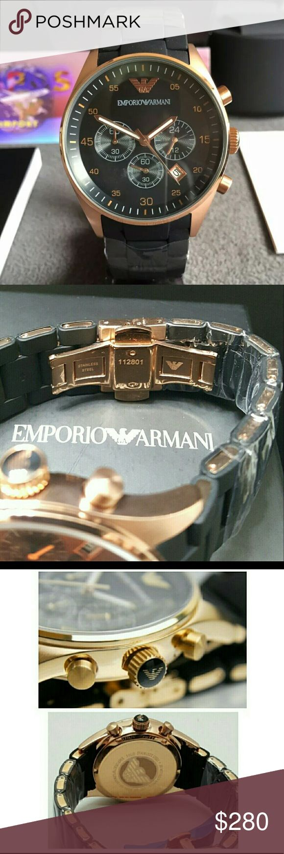 Emporio Armani Chronograph Rose Gold Black watch Emporio Armani Chronograph Rose Gold Black Men's Watch  FIRM PRICEFIRM PRICE FIRM PRICE FIRM PRICE  $280.00 . AUTHENTIC WATCH  . AUTHENTIC BOX  . AUTHENTIC MANUAL   SHIPPING  PLEASE ALLOW 3-4 BUSINESS DAYS FOR ME TO SHIPPED IT OFF.I HAVE TO GET IT FROM MY STORE.  THANK YOU FOR YOUR UNDERSTANDING emporio Armani Accessories Watches
