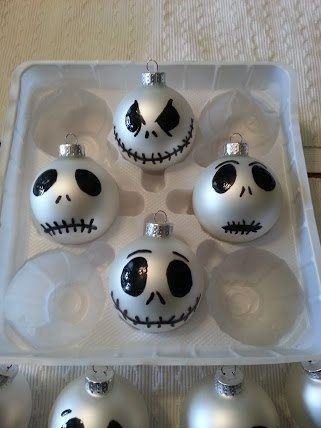 @Marianne Glass Glass Nadolsky - I love these!! I know what I'm making at Chrismonta! Jack Skellington painted ornaments Nightmare before christmas