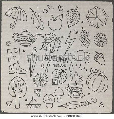 Vector set of different hand drawn autumn elements. Vector illustration - stock vector