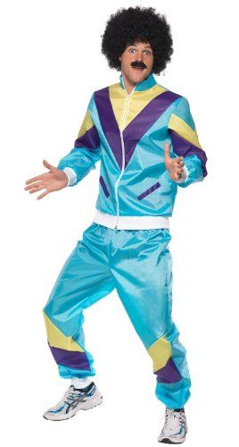 Smiffy's Men's 80's Height Of Fashion Shell Suit Costume with Jacket and Trousers, Multi, X-Large Smiffy's