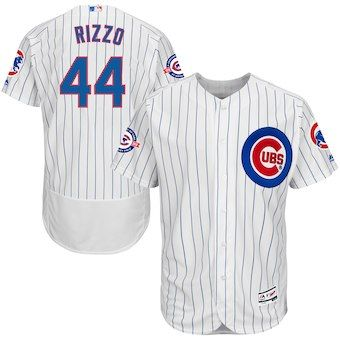 Anthony Rizzo Chicago Cubs Majestic Home Flex Base Authentic Collection  Jersey with 100 Years at Wrigley Field Commemorative Patch - White Royal 67e7781a0