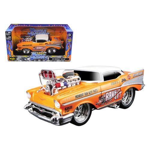 "1957 Chevrolet Bel Air ""Muscle Machines"" Orange 1/24 Diecast Model Car by Maisto"