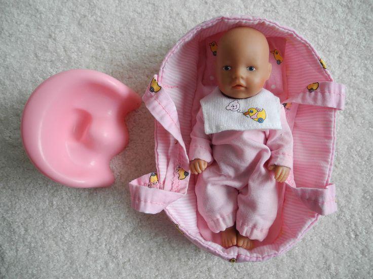 miniworld Baby Born Puppe ca. 11 cm Tragetasche und Töpfchen