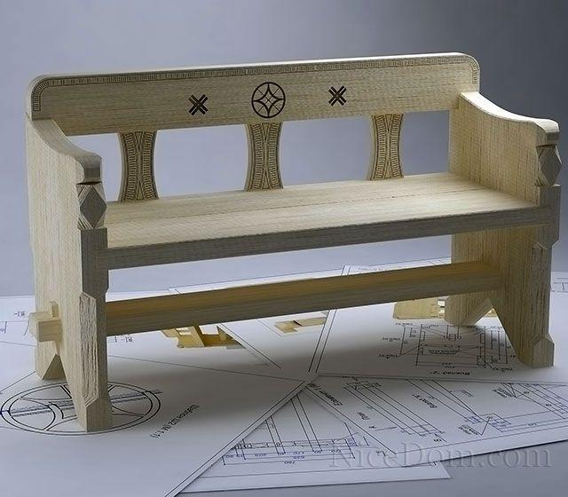 деревянная скамья 640