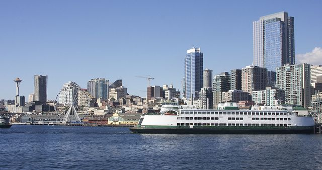 IMG_8475, Downtown Seattle Waterfront with the Space Needle, Great Seattle Wheel, and Seattle Ferrys by timothylhendrix, via Flickr